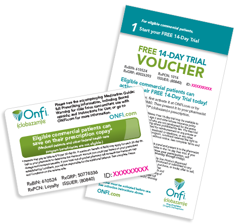 Start your patients on a 14-day free trial with a Copay Savings Card brochure.
