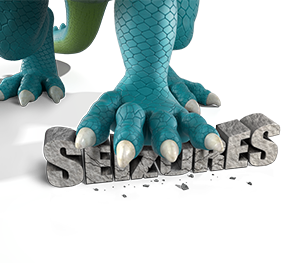 Image of ONFI® (clobazam) CIV dragon claw crushing the word seizures.